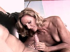 Blonde mature sucks n jumps on dick