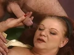 Plump granny sucking huge cock and fucked in group