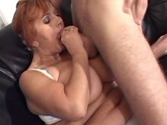 Plump granny greedily sucks strong cock of guysofa