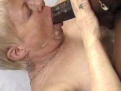 Old lady sucks fat cock and gets cum by blackie
