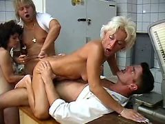 Lewd blonde granny fucked by guys in all holes