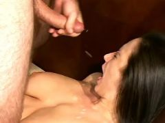 Busty brunette mature gets lavish cumload on face