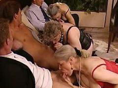 Three old ladies greedily suck cocks in groupsex