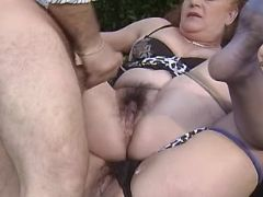 Grannies in stockings get cum on pussies outdoor