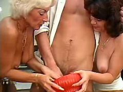 Lusty aged ladies share appetizing cock on kitchen