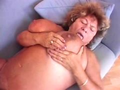 Grandma eats cum off huge breast after sweaty fuck