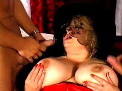 Fat matron is double penetrated and double jizzed