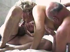 Granny n two old men get oral fuck