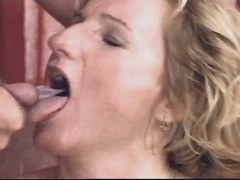 Blonde mature gets cumshot in mouth