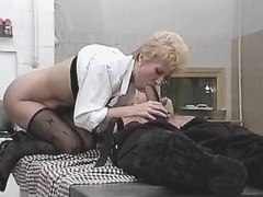 Blonde lewd mature does hpt blowjob