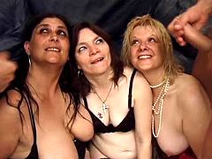 Three old whores are fucked and smashed with cum