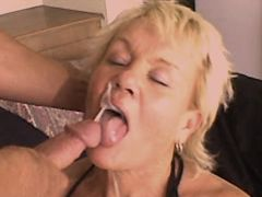 Blonde mature fucks and gets facial
