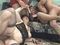 Three guys fuck depraved old ladies in all holes