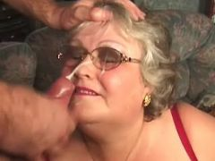 Fat granny in stockings crazy fucks and gets cum