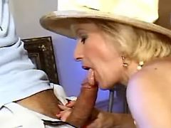 Splendid granny sucks fresh cock after wild games