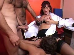 Mature secretary seduces horny guys in office