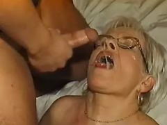 Old plumper in stockings gets cum from horny guy