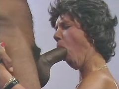 Granny sucking huge chocolate cock and licked