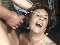 Aged woman gets facial after fuck with horny guy