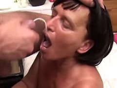 Horny granny deep assfucks and get cum on face
