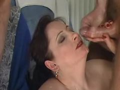Horny granny gets cumload on face in groupsex