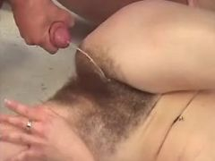 Nice mature gets cumload on hairy pussy in bar
