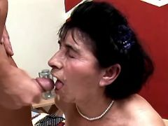 Grandma rides big cock and gets cumload in mouth