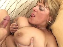 Plump mature slut gets cumload on huge melons
