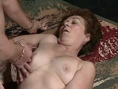 Hungry grandma gets cumshot on tits