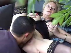 Granny in stockings licked and fucked in nature