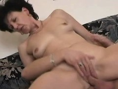 Old mature sucks and jumps on cock