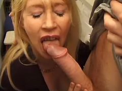 Mature sucks appetizing cock and licks asshole