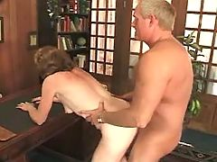 Horny grandma fucked by man in doggy style