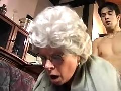 Old lady gets facial after hard fuck on floor