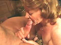 Lewd chubby granny jumps on cock and gets cumshot