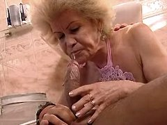 Granny sucks and fucks in bathroom