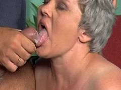 Chubby grandma gets hard fuck and cum in mouth